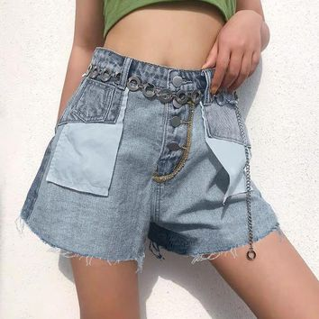Buttons pocket women denim shorts Casual streetwear patchwork female jeans shorts Loose tassel high waist ladies shorts