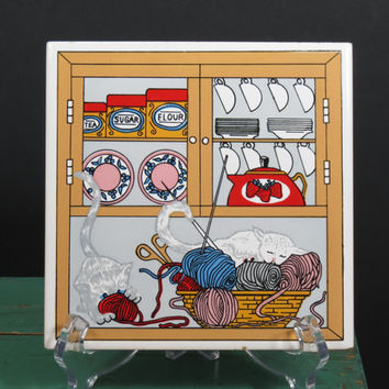 Vintage Ceramic Tile Trivet . Kittens Playing with Knitting Yarn . Kitchen Cabinet Canisters and Dishes . Strawberry Teapot . Cat