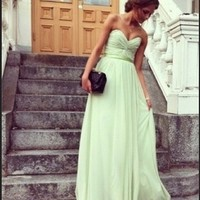 Stunning Sage A-line Sweetheart Floor Length Prom Dress