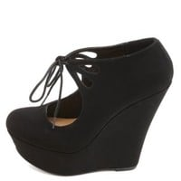 Cut-Out Lace-Up Mary Jane Platform Wedges by Charlotte Russe