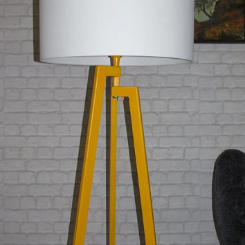 Handmade Tripod Floor lamp with unique wooden stand colored in yellow and drum lampshade,different colors lampshade,model Zornitsa