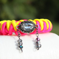 Paracord Bling- Survival Bracelet- Pendant Jewelry- Custom Made- Arm Cuff- Arm Candy- Pink & Yellow- Celtic Button Knot- Womens and Mens