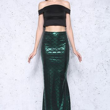 Fish Scale Mermaid Printed Long Skirt