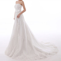 Strapless white wedding gown with lace - Style 3