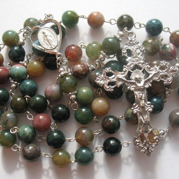Colorful Rosary, Fancy Jasper Beads, Multicolor beads, Catholic gift, handmade Rosary, Prayer Beads, Catholic Rosary