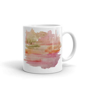 Abstract coffee mug, watercolor coffee cup, Pink coffee lover gift, painted mug, abstract art lover gift, pretty mug, 11 oz, 15 oz cup
