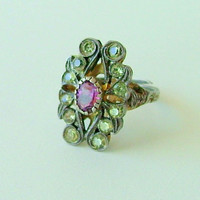 Antique amethyst Ring / silver ring/ amethyst and marcasites ring / Steampunk ring