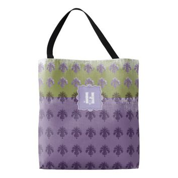 Purple and Green Grunge Monogram Tote