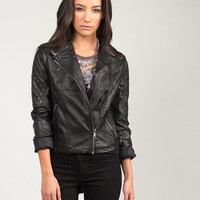 Quilted Sleeved Leather Moto Jacket - Medium