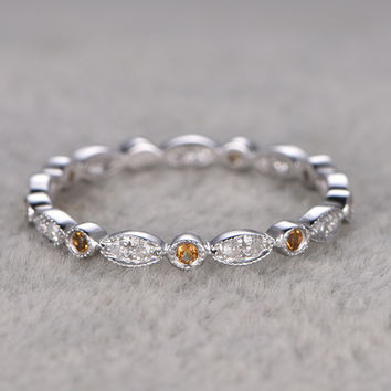 Citrine and Diamond Wedding Rings 14k White Gold Antique Art Deco Full Eternity Band Marquise Annivery