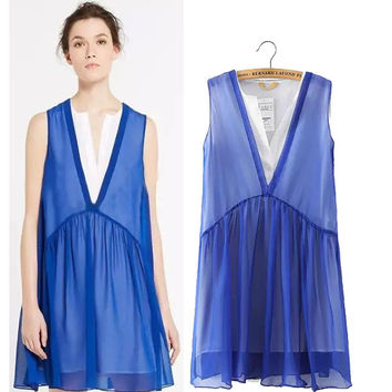 Stylish V-neck Sleeveless Double-layered Chiffon Patchwork Women's Fashion One Piece Dress [5013218692]