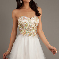 Short Beaded Ivory Dress by Dave and Johnny 9269