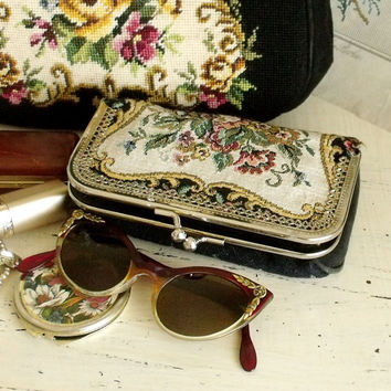 Vintage Tapestry cosmetics eyewear case purse Floral small tapestry case