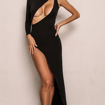 Fatal Love Black One Long Sleeve Boat Neck Asymmetric Cut Out Keyhole High Slit Maxi Dress