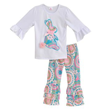 Girls Spring Clothes Set Easter Bunny T-Shirts Colorful Vintage Ruffle Pant Kids Clothing Boutique Cotton Outfits Set E001