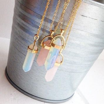 Hexagonal Column Quartz Necklaces Pendants Fashion Natural Stone Bullet Pink Crystal Pendant Necklace