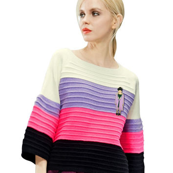 ELF SACK fashion brand new arrival 2015 spring women multicolour stripe flare sleeve loose pullover sweater o-neck free shipping