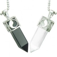 Yin Yang Love Couple Amulets Crystal Points Simulated Onyx White Simulated Cats Eye Necklaces