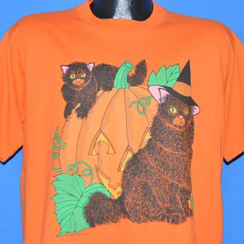 80s Halloween Jack O Lantern Black Cats t-shirt Large