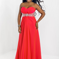 Sweetheart With Beaded Empire Waist Plus Size Prom Dress Blush 9509W