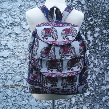 Backpack Aztec Ikat Tribal Elephant Print Woven Boho Hippie Design Nepali Handwoven Patterns Handmade Bag For School Laptop Messenger Travel