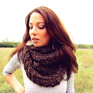 Chunky Cowl Scarf Brown Knit