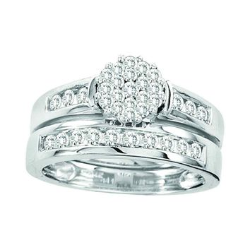 14kt White Gold Womens Round Diamond Flower Cluster Bridal Wedding Engagement Ring Band Set 3/4 Cttw