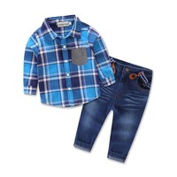 Boys Plaid Shirt + Suspender Jeans