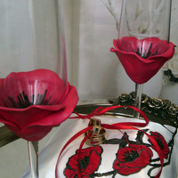 Hand pinted Satin white ring bearer pillow Red and black Poppy personalized wedding favor