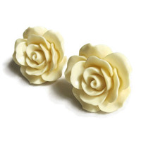 Vintage Nolan Miller Ivory Colored Molded Rose Flower Pierced Earrings