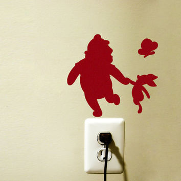 Winnie The Pooh Nursery Velvet Wall Art - Red Velvet Wall decal - Free Shipping