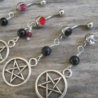 Pick One Pentacle Belly Ring, Black Agate Belly Button Ring, Birthstone Navel Piercing, Wicca Body Jewelry, Supernatural Pentagram Silver