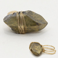 Green Natural Wire Wrap Stone Cuff Ring