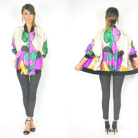 slouchy PABLO PICASSO chic art hipster BOMBER novelty jacket, extra small-large