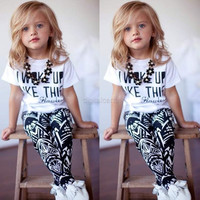 Fashion Baby Girls Letter Pattern Short Sleeve T-shirt Geometric Pattern Pants Two Piece Set D_L