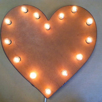 HEART Lighted Marquee Wedding Love Sign made of Rusted Recycled Metal Vintage Inspired