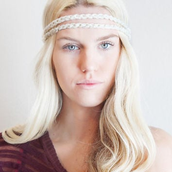 Double Strand Headband Double Braid Hair Band Hippy Style Boho Music Festival Hairwrap in Cream w/ Sparkles