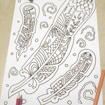 feather adult coloring page instant download colouring book down plume bird diy draw meditation zen printable print digital lasoffittadiste
