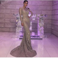 Silver Gold Glittered Maxi Dress Elegant Mermaid Dress Evening Shiny Party Dresses Backless Hollow Out Padded Floor Length Dress