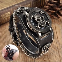 Fashion Punk Rock Retro Chain Skull Leather Watches Wrist Bracelet Unisex Women Men Vintage Gothic Leather Band Gift [8833442700]