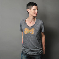 Womens Summer Fashion T shirt - Copper Bow with Silver Polkadots Screen Print - Loose Fit Shirt