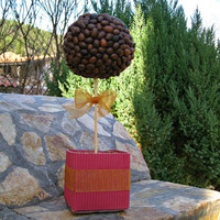 Maroon Paper Flower Pot,Coffee Bean Covered Ornament,Brown Sphere Centerpiece,Coffee Smell,Home Gift,Handmade Table Top,Bow Decor,Coffee Orb