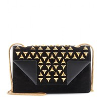saint laurent - betty structured leather and suede studded shoulder bag