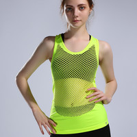 2016 Summer Mesh Top Women Loose Fitness Dry Quick Sport Tank Tops Sleeveless Cut Out Gym Halter top femme Vest Shirt