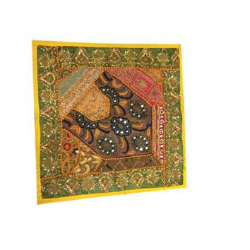 Mogul Ethnic Yellow Cushion Cover Patchwork Embroidered Sequin Beaded Cotton Square Pillow Sham - Walmart.com
