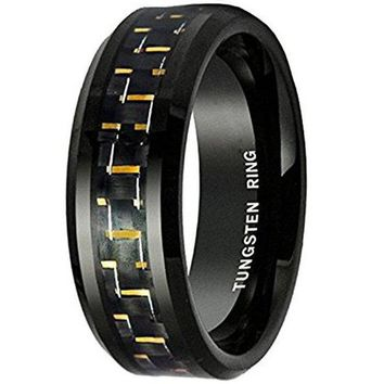 8MM Tungsten Carbide Men's Black and Gold Carbon Fiber Inlay Wedding Band Ring