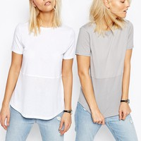ASOS Contrast Ribbed Panel T-Shirt 2 Pack Save 10%