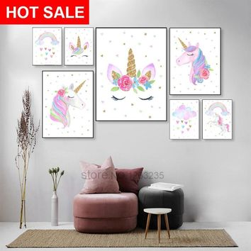 Pink Baby Girl Room Decor Posters Wall Art Canvas Painting Nordic Poster Unicorn Stars Wall Pictures For Living Room Unframed
