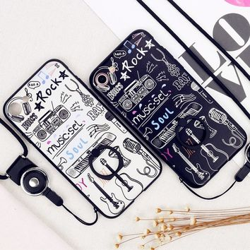 Guitar Piano Rock Music Style Pattern Cat With Finger Ring Case For iPhone 8 8 Plus 7 7 Plus 6  6s 6 Plus Case Back Cover Coque