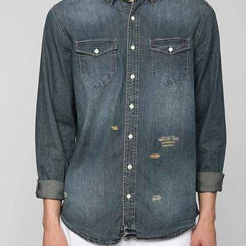 The Narrows Destroyed Button-Down Denim Shirt- Light Blue